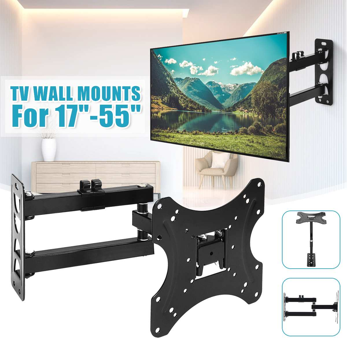 1Pcs Full Motion TV Wall Mount 180 Degree Rotate Bracket Support 17-55Inch LED LCD Flat Screen Universal Telescopic Rack