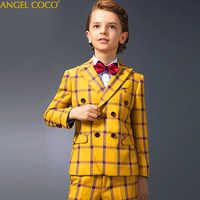 Kinder Anzüge Jungen Kleid Gelb Plaid Prom Anzüge Jungen Anzüge Für Hochzeiten Anzug Hübscher Junge Blazer Menino Kostüm Garcon