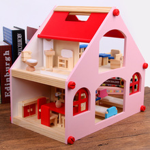 Factory Sales Children Play House Toys GIRL'S Mini Model House Small Villa Room Furniture Set Wooden Quality Baby