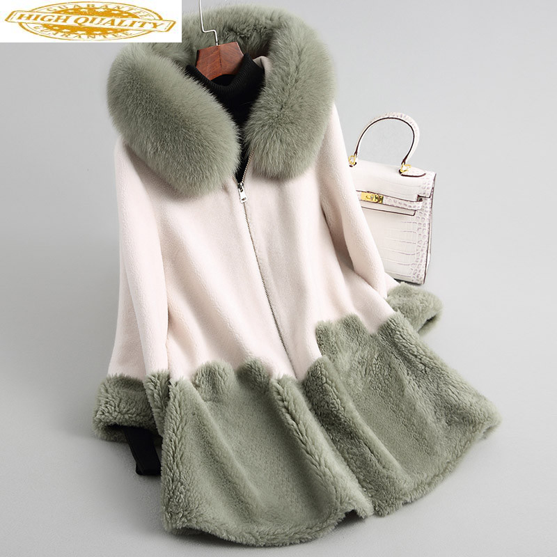 Real Wool Fur Coat With Natural Fox Fur Collar Hooded 2020 Long Sheep Shearing Coats Winter Jacket Women 18162 WYQ2027