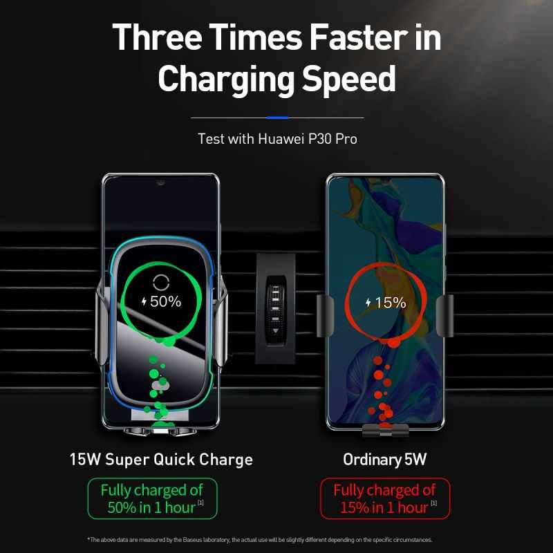 Baseus حامل هاتف السيارة شاحن آيفون 11 برو ماكس سامسونج سريع لاسلكي شحن ذكي 15 واط تشى شاحن سيارة لاسلكي