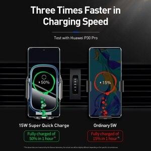 Image 4 - Baseus Qi Auto Draadloze Oplader Voor Iphone Samsung Xiaomi 15W Inductie Snelle Draadloze Opladen Auto Telefoon Houder Wirless Lader