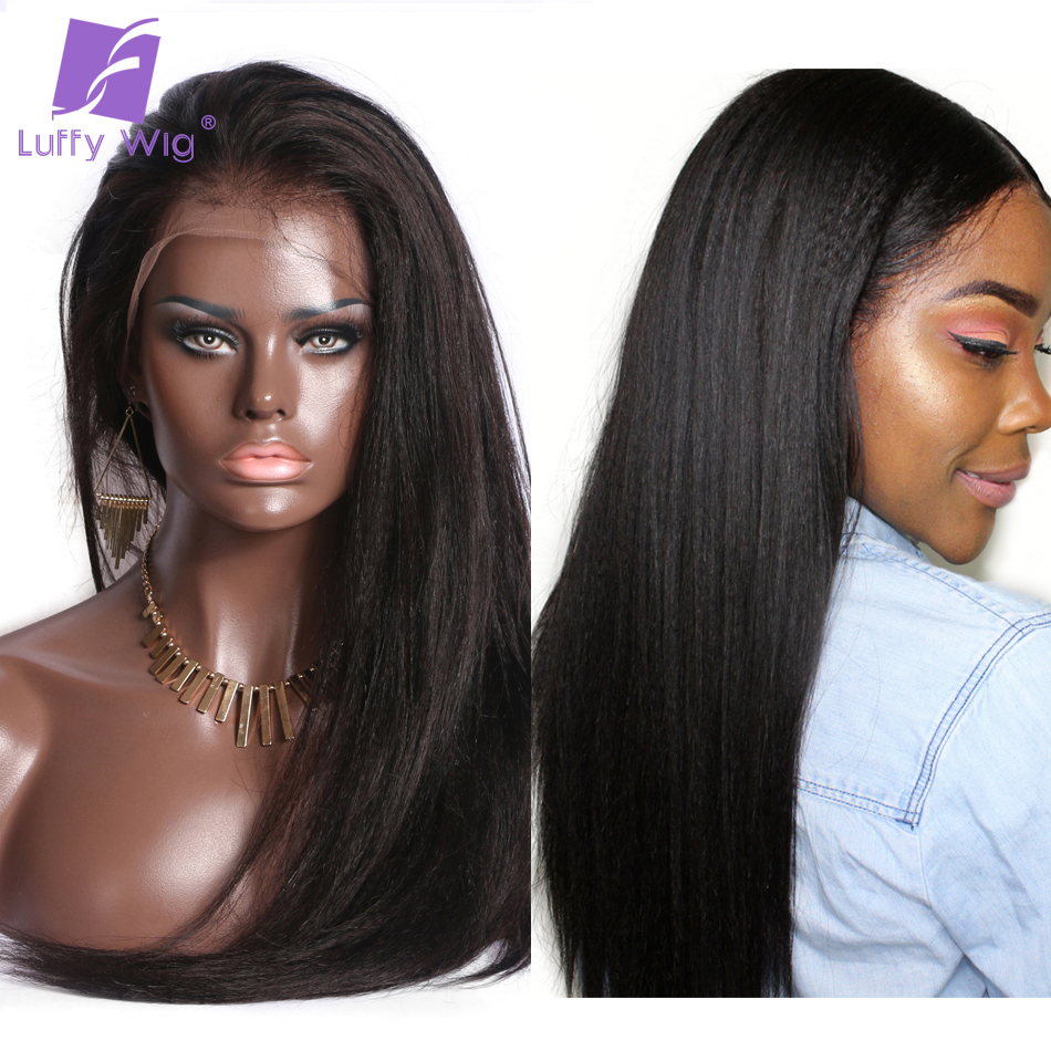 150 Density 13x6 Yaki Straight Lace Wig Pre Plucked Deep Part Remy Brazilian Lace Front Human Hair Wigs Bleached Knots Luffy(China)