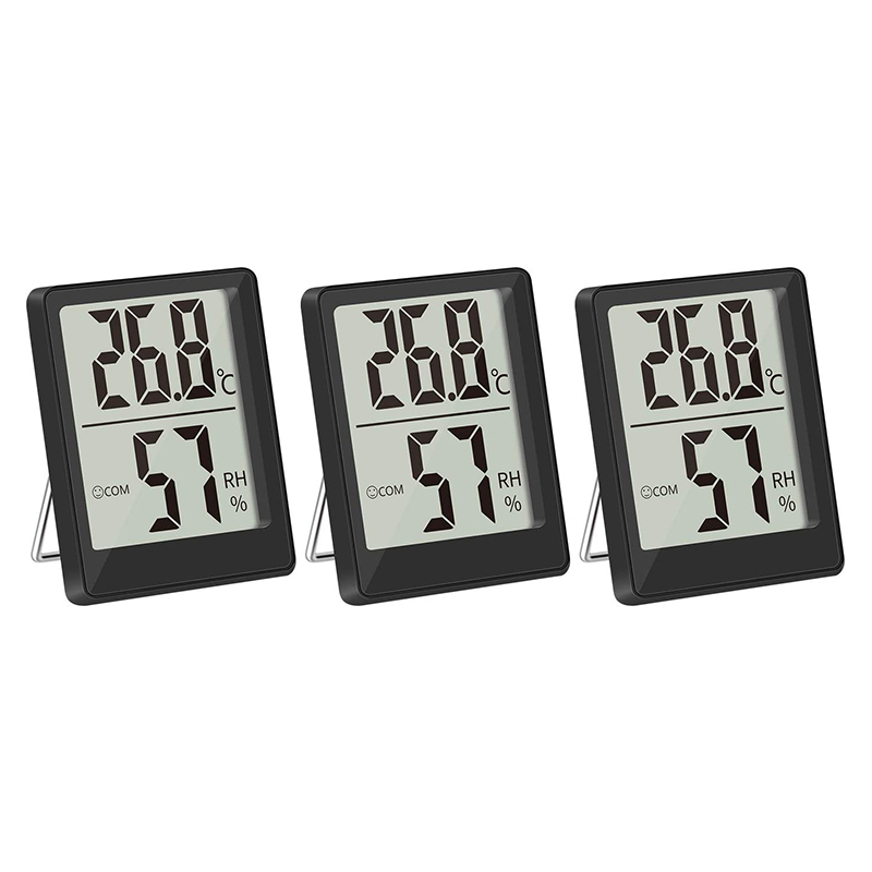 Energetic 3 Packs Indoor Thermometers, Digital Hygrometer Mini Temperature Monitor And Hygrometer, For Greenhouse Nursery Black Cheap Sales 50%