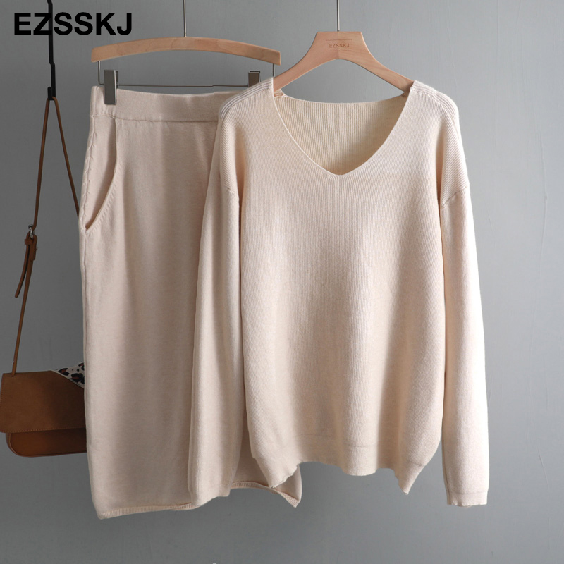 women casual loose sweater +straight skirt  set dress 1