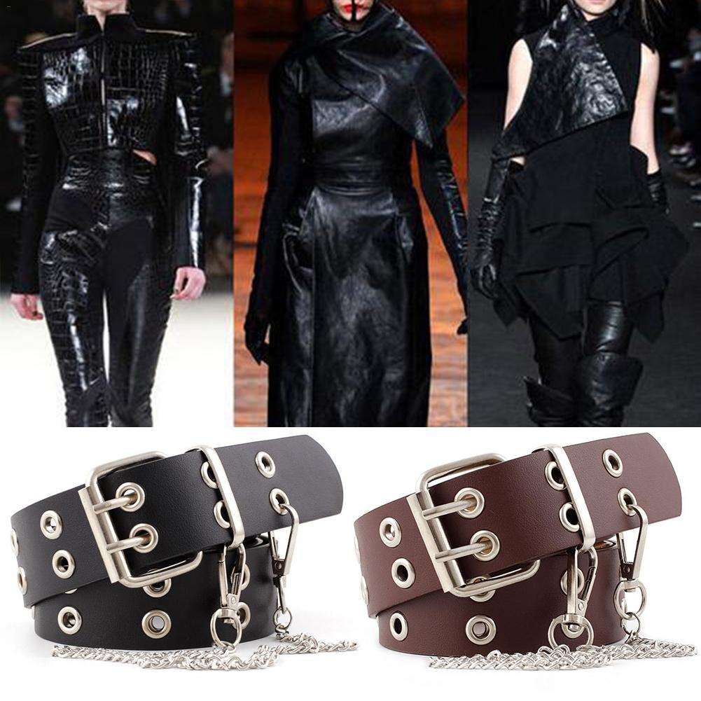 2019 New Double Row Hole Belt For Men And Women Fashion Punk Style With Eyelet Chain Decorative Belt For Jeans Pants Trousers