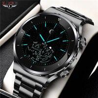 Reloj Digital de acero inoxidable para hombre, pulsera electrónica con LED, resistente al agua, Bluetooth, novedad de 2021