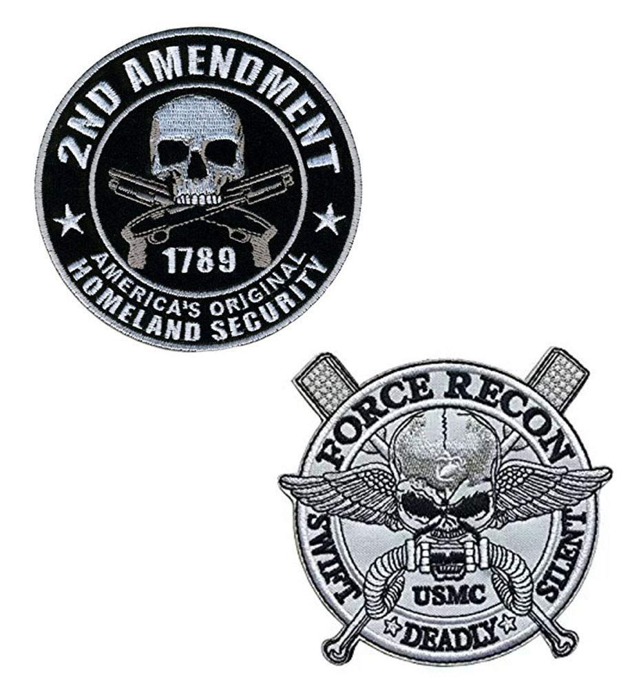 Military Embroidered America Original Homeland Security Amendment Support <font><b>Patch</b></font> <font><b>USMC</b></font> Swift Dead Silent Force Recon Morale Badge image