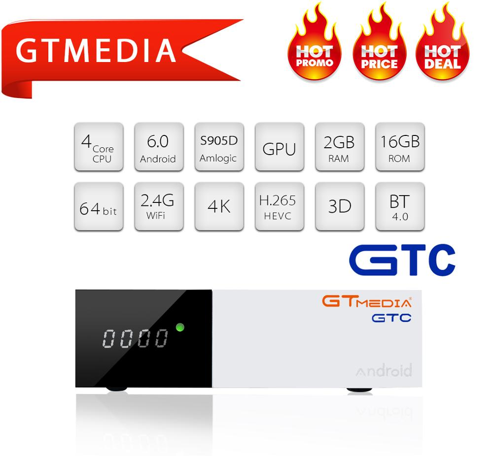 GTMEDIA GTC DVB T2 S2 C ISDB-T iptv décodeur boîte TV DVB-T2 DVBT2 Tuner android TV boîtier prise en charge cccam IPTV M3u smart tv décodeur