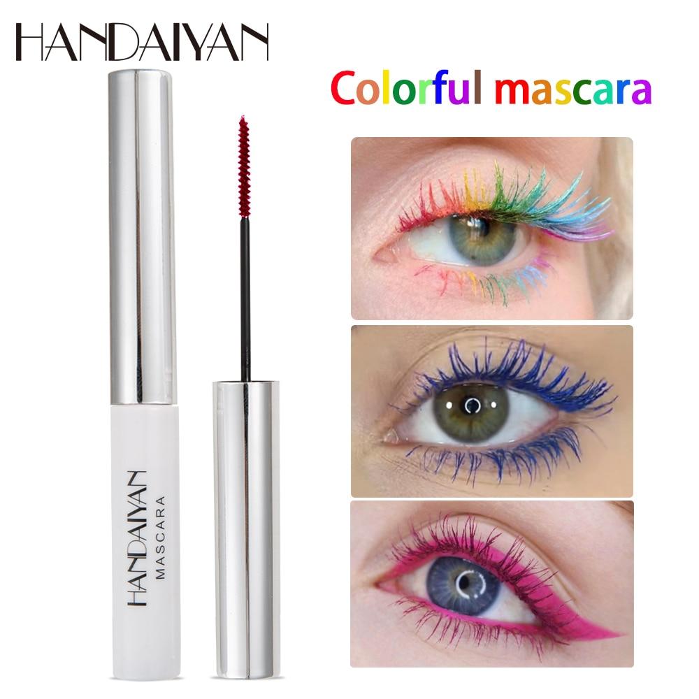 HANDAIYAN colorful mascara waterproof long lasting curling thick white green red blue purple 4d silk fiber mascara HF151