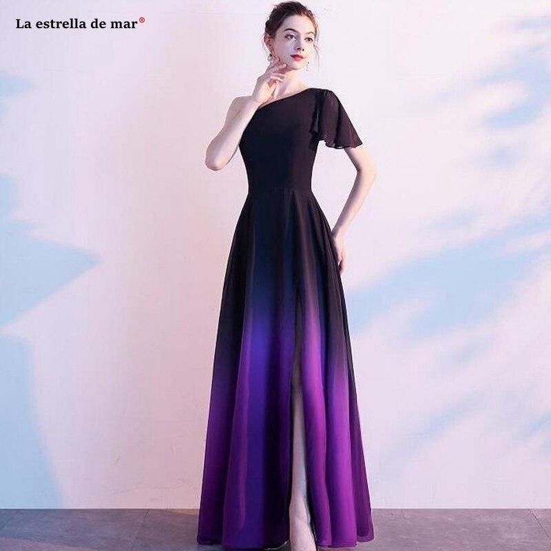 Plus Size Vestido Madrinha New One Shoulder Sleeve A Line Chiffon Gradient Black Purple Red Bridesmaid Dresses Long Sukien