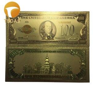 Billets en aluminium, en or 24k, 10 pièces/ensemble, billets de collection rares, monnaie américaine 100 Dollar, billets de collection et cadeaux d'anniversaire