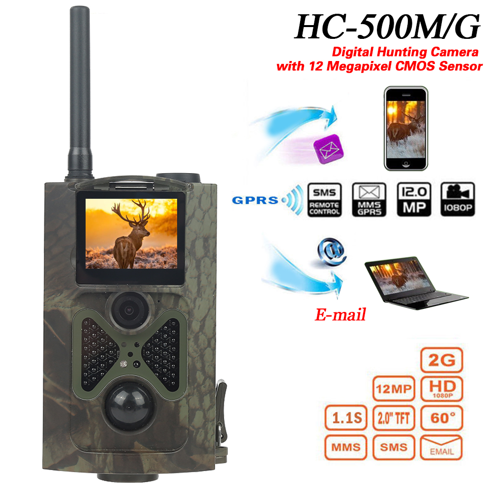 HC500M HD Hunting Camera 12MP CMOS GPRS GSM SMS Wildlife Camera Outdoor IR Sensor Hunting Wild Spy Camera Hunting Cameras     - title=