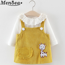 Menoea Baby Dress 2019 Autumn Style Fake 2pcs Girl Spring Newborn Long Sleeve Dots Strap For Toddler Kids Clothes