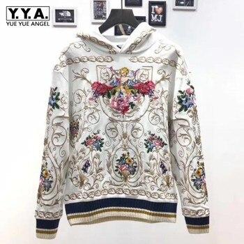 Подиумная мужская толстовка с цветочной вышивкой и длинным рукавом, модный винтажный белый пуловер, топы для влюбленных, уличная одежда