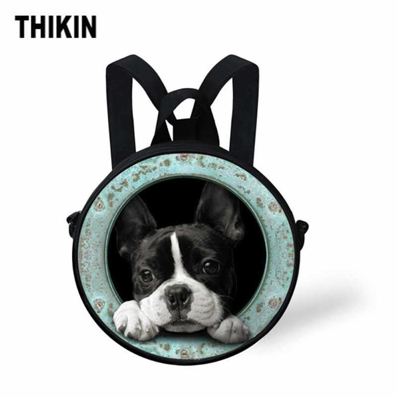 THIKIN 3D Французский бульдог Печать Дети Круглый детский сад мини сумки милая собака рюкзак для девочки мальчик повседневная Mochila Infantil на заказ