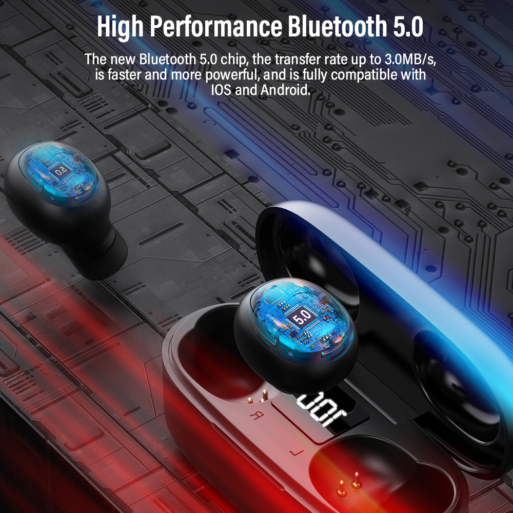 Image 2 - TOPK Mini Bluetooth Earphone HD Stereo Wireless Headphones gaming In ear sport headset With Mic Charging Box for smartphoneBluetooth Earphones & Headphones   -