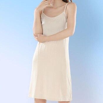 Womens Modal Full Slip Dress Underwear Spaghetti Strap Solid Long Under Dress Camisole Slips Inner Petticoat Women Intimates 1