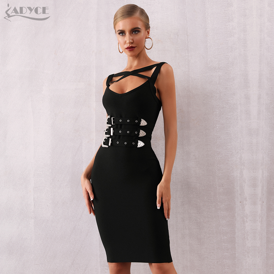 Adyce 2020 New Summer Black Bandage Dress Women Sexy Sleeveless Spaghetti Strap Sashes Club Dress Celebrity Evening Party Dress