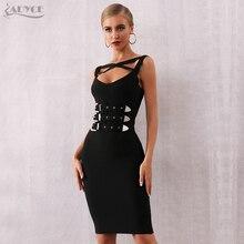 Adyce 2020 뉴 여름 블랙 붕대 드레스 여성 섹시 민소매 스파게티 스트랩 새시 클럽 드레스 연예인 이브닝 드레스
