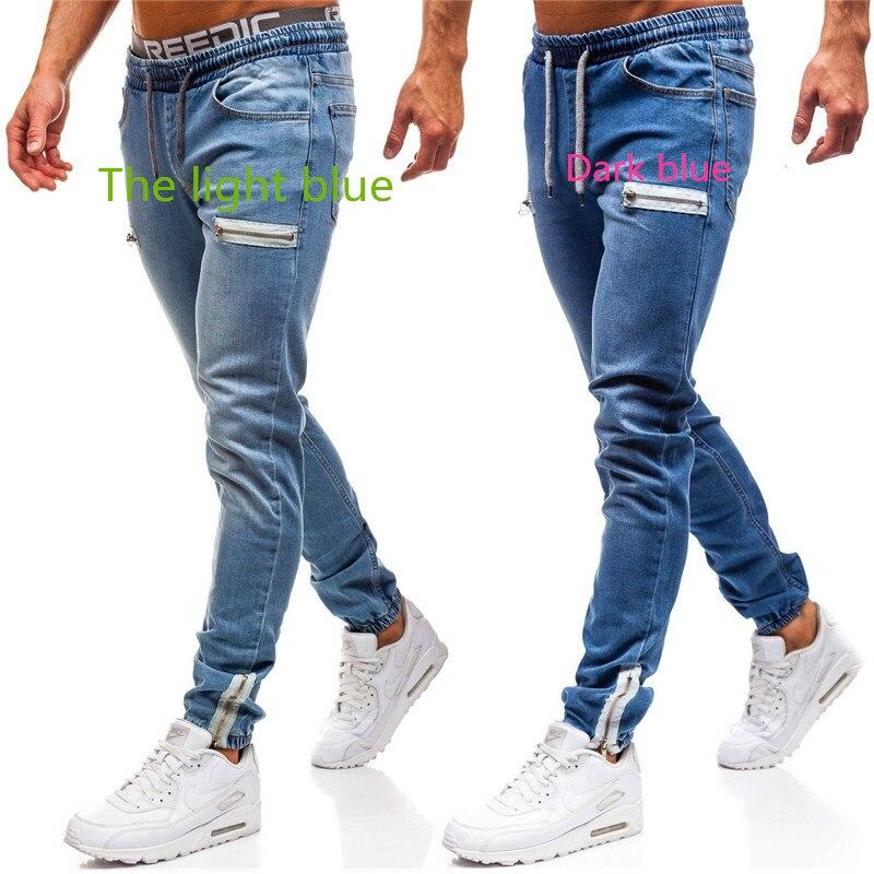 Summer Hip Hop Men Zipper Blue Jeans Slim Fit Pants With For Men Side Stripe Pocket Jeans pencil Pantalones