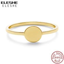 ELESHE-grande chevalière de base plaqué or 18K, Simple bague en argent Sterling 925, bague de fiançailles de mariage, bijoux à la mode