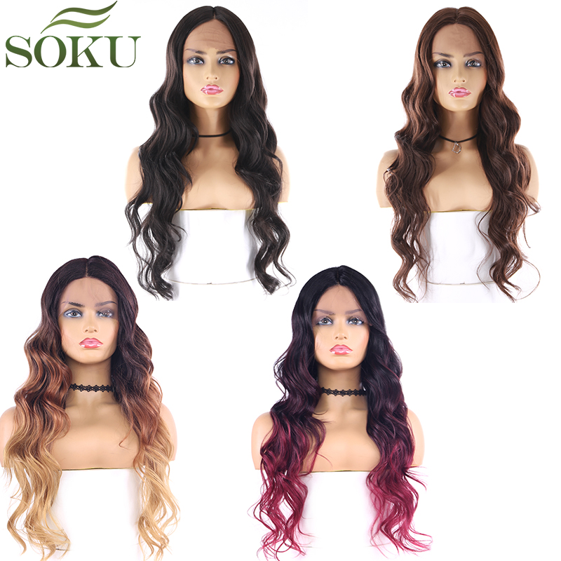 SOKU Lace Front Synthetic Hair Wigs Long Wavy Middle Part Lace Front Wigs Heat Resistant Lace Front Wig For Black Women