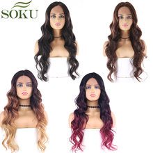 SOKU Lace Front Synthetic Hair Wigs Long Wavy Middle Part La