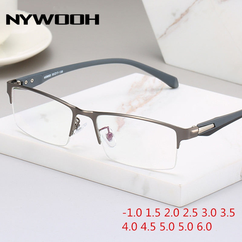 NYWOOH Finished Myopia Glasses Men Half Frame Business Metal Finished Short-sighted Eyewear -1.0 1.5 2 2.5 3 3.5 4.0 To 6.0