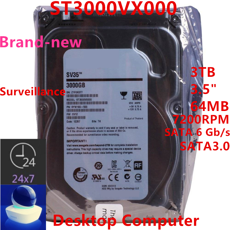 """New HDD For Seagate Brand SV35 3TB 3.5"""" SATA 6 Gb/s 64MB 7200RPM For Internal HDD For Surveillance  HDD For ST3000VX000 1"""