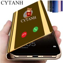 Inteligentny futerał na telefon dla Huawei P40 Pro P20 P30 lite Mate 20 Y5 Y6 Y7 Y9 Psmart Plus 2019 pokrywa wyczyść widok lustro Coque na P 30 lite