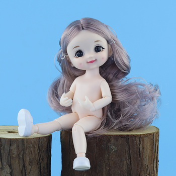 New BJD Dolls 16cm 13 Movable Joints Plastic Doll Cute Dimple Smile Dress Up Doll Girl DIY Toy White Skin Nude Body Fashion Gift freeshipping fairyland realpuki tyni doll bjd 1 13 pink smile elves toys gift