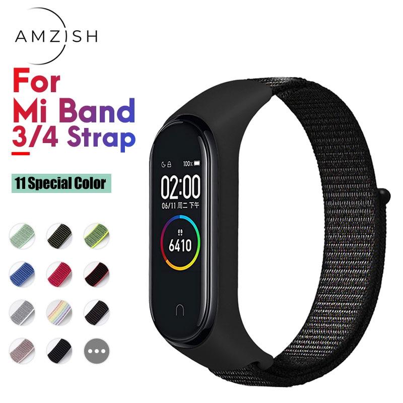 Amzish Nylon Strap For Mi Band 4 3 Wristband Breathable Bracelet For Xiaomi Mi Band 4 3 Miband Strap