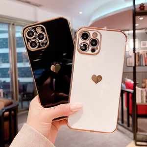 Image 2 - Phone Case For iPhone 12 Mini 11 Pro X XR XS Max 7 8 Plus SE 2 Luxury Cute Side Pattern Electroplated Love Heart Soft TPU Case