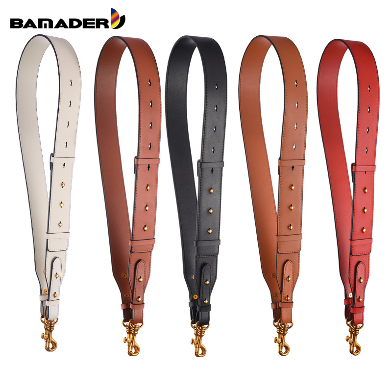 BAMADER Wide Shoulder Strap Genuine Leather Bag Strap Metal Hook Shoulder Bag Strap New Adjustable 95CM-110CM Bag Accessories