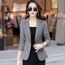 2020 New Spring Autumn Plus Size 3XL Womens Business Suits One Button Thin female suit plaid short coat