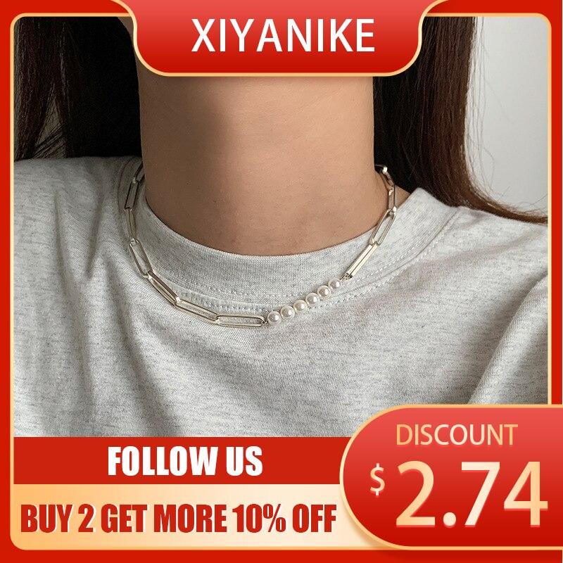 XIYANIKE collier de perles femme lumière de luxe exquis INS Simple tempérament Hip-hop clavicule chaîne collier accessoires bijoux