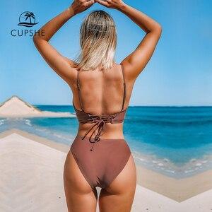 Image 4 - CUPSHE Brown sznurowane zestawy Bikini kobiety trójkąt średnio wysoka talia dwa kawałki stroje kąpielowe 2020 dziewczyna zwykły strój kąpielowy stroje kąpielowe