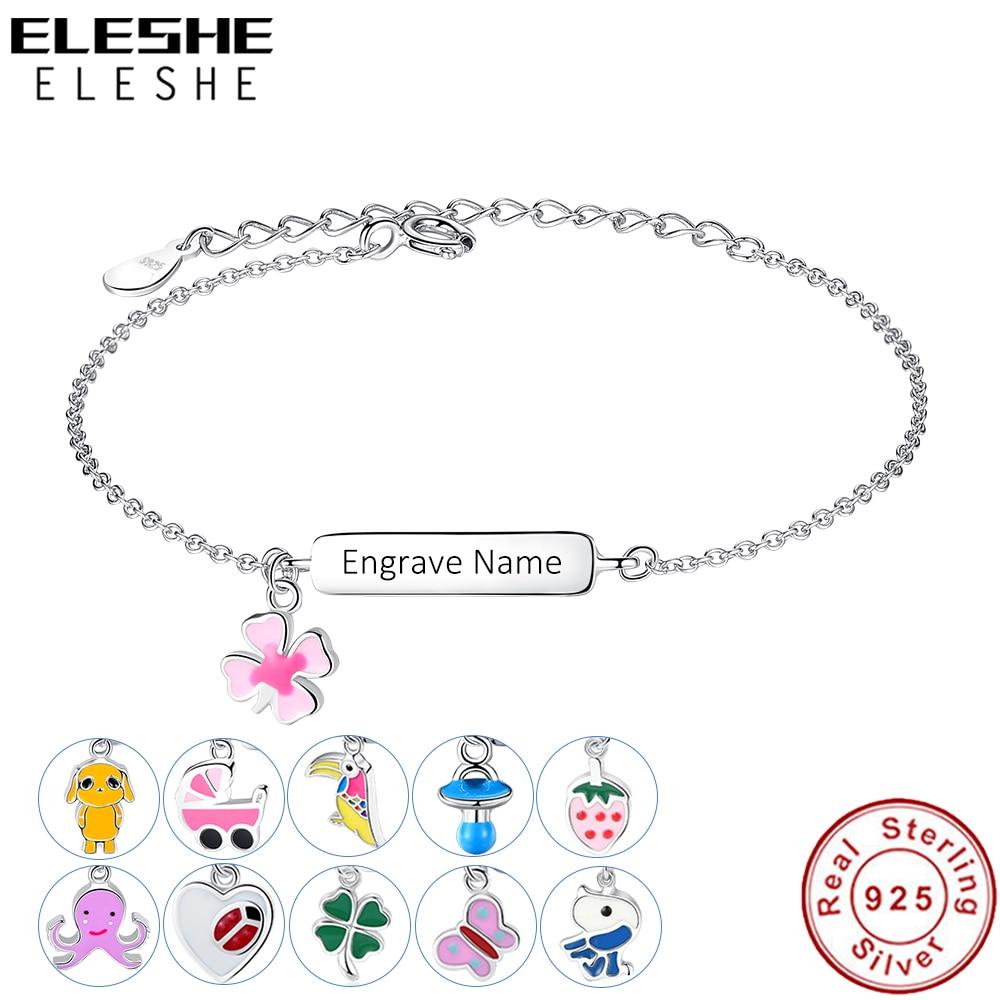 ELESHE Freies Gravieren Name Armband Personalisierte Armband Für Kinder Mädchen 925 Sterling Silber Armband Anpassen Schmuck Geschenk