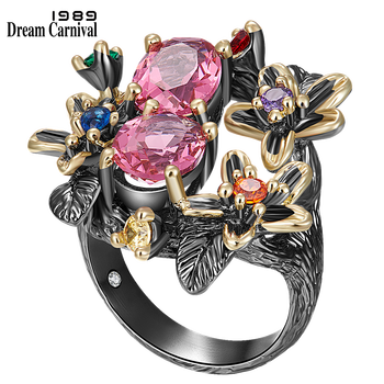 DreamCarnival 1989 Stunning CZ Ring for Women Engagement Party Vintage Flower Ring Eye Catching Fuchsia Zircon Jewelry WA11688FU
