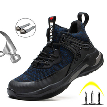 Work-Shoes Safety-Boots Lightweight Steel-Toe Ankle-Leather Puncture-Proof Autumn Men
