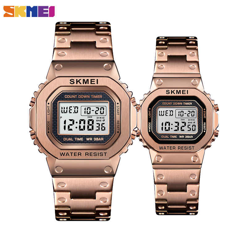 SKMEI Couple Digital Watch Women Men Stopwatch Luminous Waterproof Watches Alarm Complete Calendar Wristwatch Reloj Mujer 1433