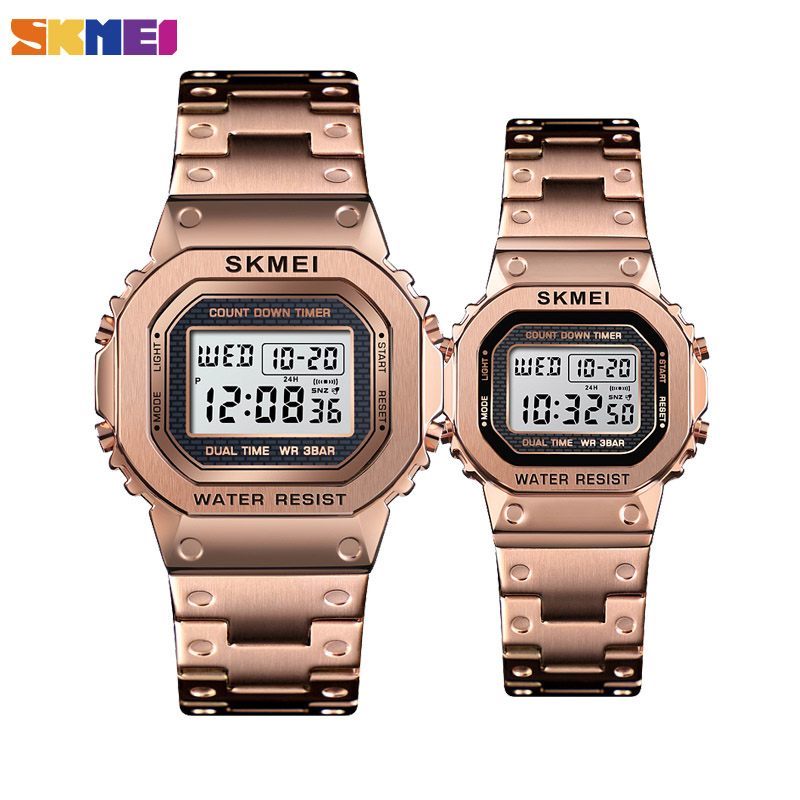 <font><b>SKMEI</b></font> Couple Digital Watch Women Men Stopwatch Luminous Waterproof Watches Alarm Complete Calendar Wristwatch Reloj Mujer <font><b>1433</b></font> image