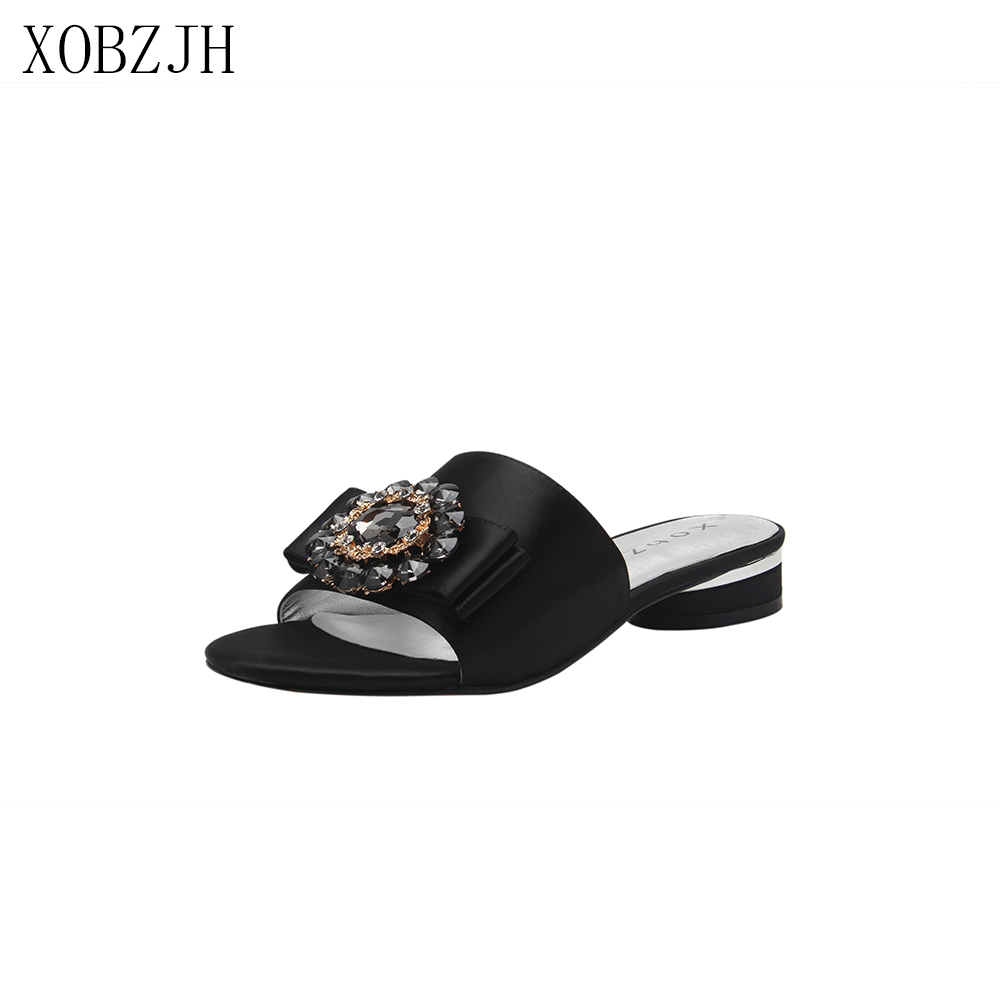 Italian Designer Flat sandals women Shoes G Slippers luxury 2019 Brand Rhinestone Black Summer Sandals Shoes Woman size 11