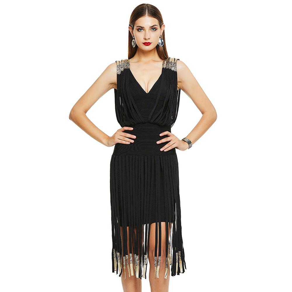 Tassel Bandage Dress Women Sexy Banquet Spring Summer Black Red Short Fringe Low Cut Beach Party Flapper Strap image