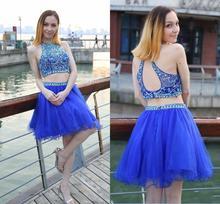 2020 короткие Homecoming платья Jewel Кристалл бисера две пьесы Сексуальная рукавов королевский синий тюль выпускного вечера платье