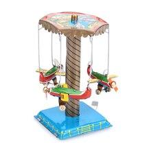 Интересные оловянные игрушки, вращающийся самолет, рождественский подарок, игрушка, детский подарок, развлечения, железо, разноцветные винтажные игрушки, орнамент, детская игрушка