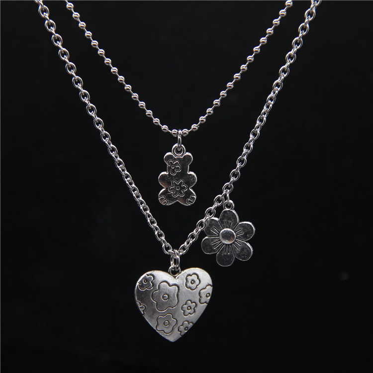 Punk Rock Flower Bear Heart Pendant Necklace Hip Hop Fashion Jewelry Cool For Women Girl Gifts Accessories Party Nightclub Gifts