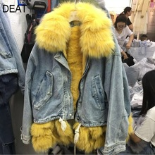 Heavy-Jacket Tassels Only Winter Real Patchwork Denim Fur Thick DEAT Turn-Down-Collar