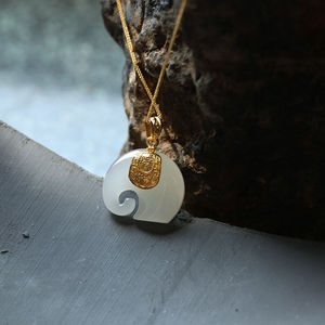 New Silver Inlaid Natural Hetian White Jade Elephant Pendant Necklace Unique Ancient Gold Craft Women's Brand Jewelry